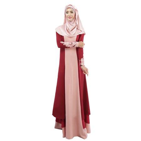 1a86dfb38a37b Simple Design Stitching Color Long Sleeve Women Islamic Long Dress ...