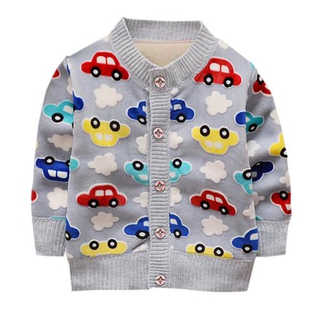 SNHENODA Knit Cardigan Baby Boy Coats Warm Cartoon Car Pattern Button Spring And Autumn Plus Cashmere Knitting (Baby Boy Cardigan)