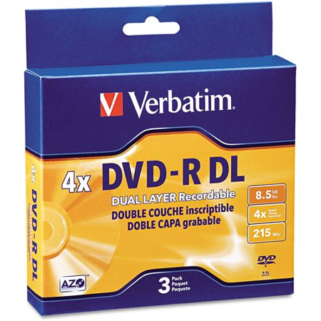 verbatim 95165 dual layer dvd r discs 8 5gb 4x w jewel. Black Bedroom Furniture Sets. Home Design Ideas
