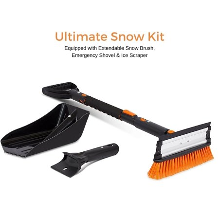 "Snow Moover 39"" Extendable Snow Brush with Squeegee, Ice Scraper & Emergency Snow Shovel 