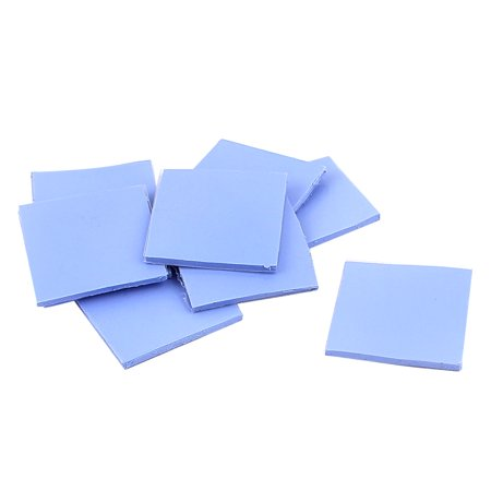 Unique Bargains 10 Pcs Blue Thermal Pad CPU Heatsink Cooling Conductive Silicone