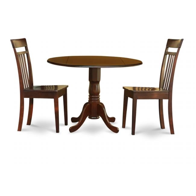 East West Furniture DLCA3-MAH-W 3PC Kitchen Round Table with 2 Drop Leaves and 2 Slatted-back Chairs with Wood Seat