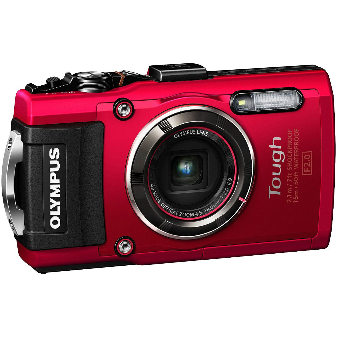 Olympus TG-4 16 MP Waterproof Digital Camera With 3-INCH LCD (RED)(Certified )