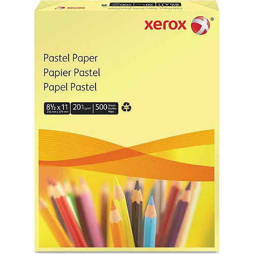 Xerox Multipurpose Pastel Colored Paper, Letter, Yellow, 500 Sheets/Ream