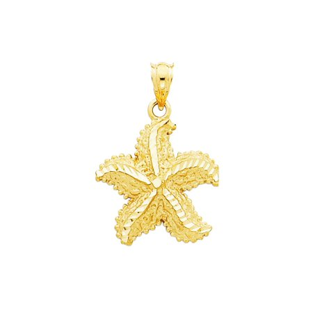 Gold Starfish Charm - 14K Yellow Gold Starfish Charm Pendant - 26mm