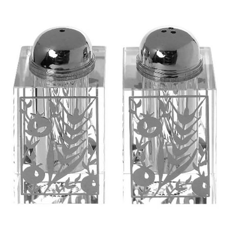 Shonfeld Crystal 128104 3 in. Crystal Salt & Pepper Shaker Set with Broken Glass Style & Barely Silver - Crystal Shaker