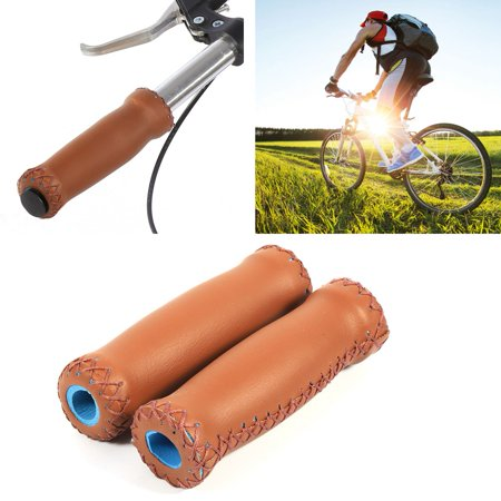 Leather Handle Grip,Zerone 1 Pair Three Colors Retro Artificial Leather Bicycle Handlebar Grips Bike Handle Cover Grips