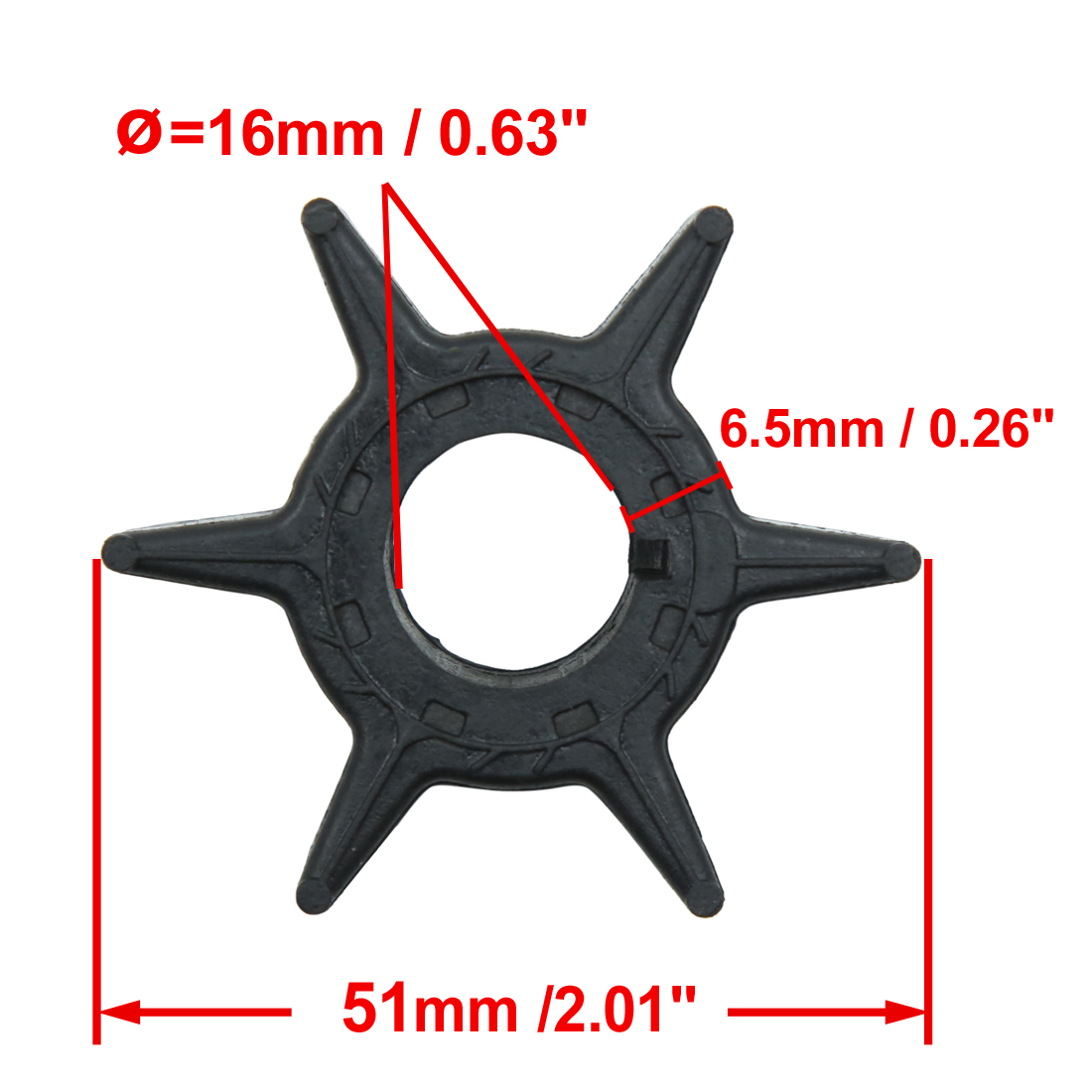 Boat Outboard Water Pump Impeller Replacement for Yamaha 60hp 6H4-44352-00-00 - image 3 de 5