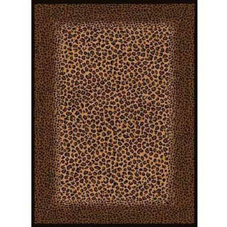 United Weavers Elements Leopard Border Woven Polypropylene Area Rug, Multi, 5'3