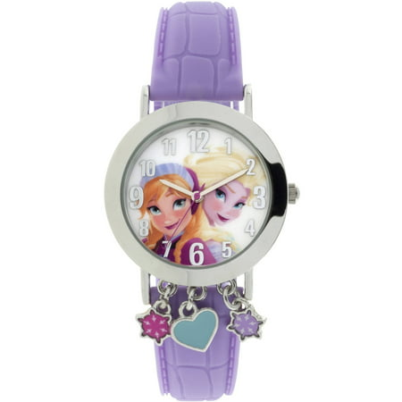 Frozen Silver Case with Dangling Charms Character-Printed Dial Analog Watch, Pink Strap