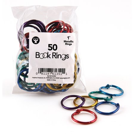 Hygloss, HYX61351, Book Rings, 50 / Pack, Assorted - Metallic Book Rings