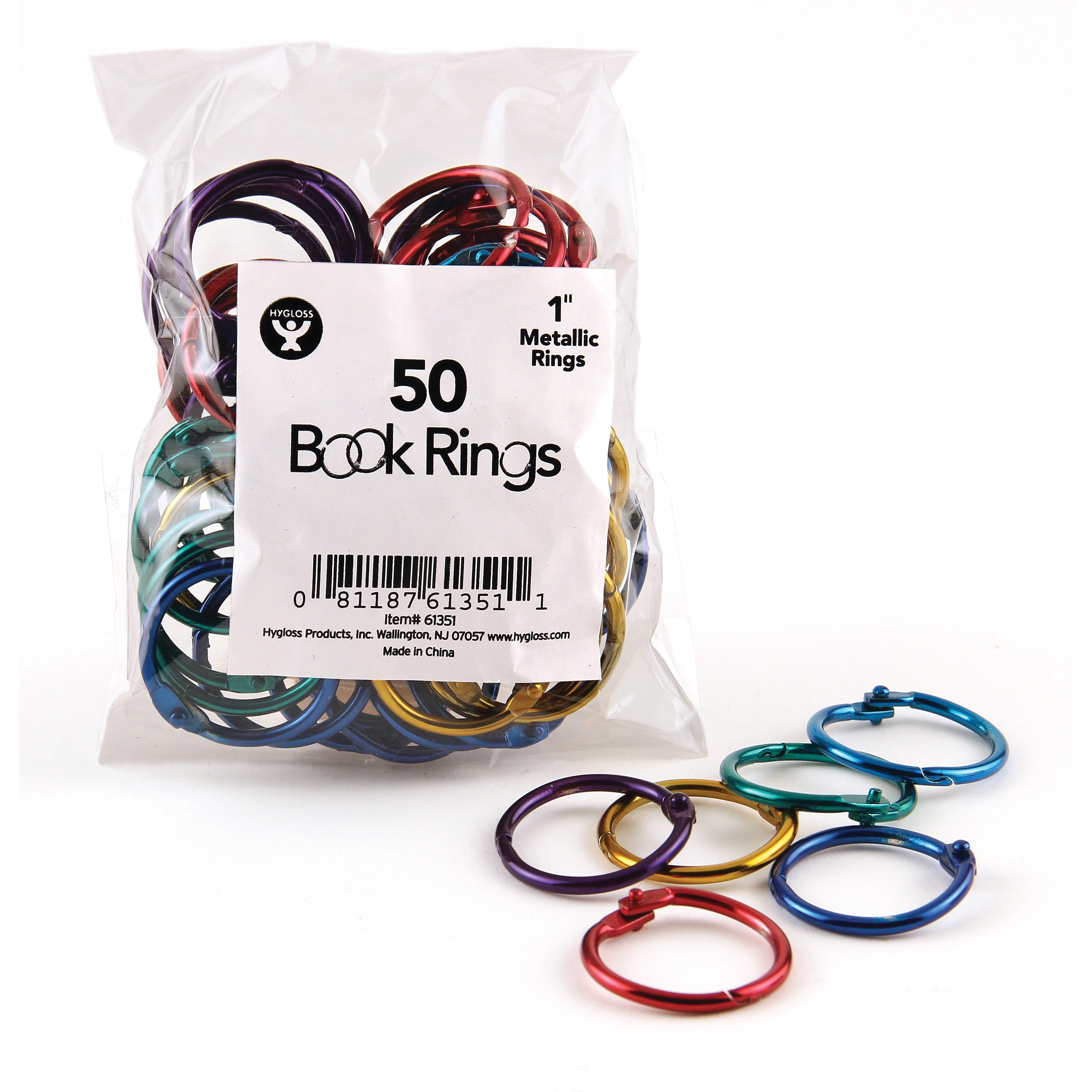 Hygloss Book Rings, Assorted, 50 / Pack (Quantity)