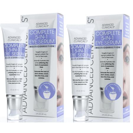 Advanced Clinicals 5-in-1 Multi Correction Anti-Aging Eye Serum w/ Retinol, Collagen, Vitamin C, & Manuka Honey. For dark circles, wrinkles, crow's feet, fine lines. Large 2oz (Two - 2oz) Age Antidote Eye