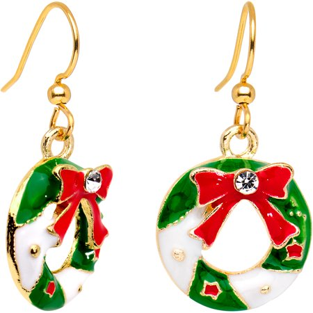 Body Candy Handcrafted Gold Plated Clear Accent Christmas Wreath Fishhook Earrings ()