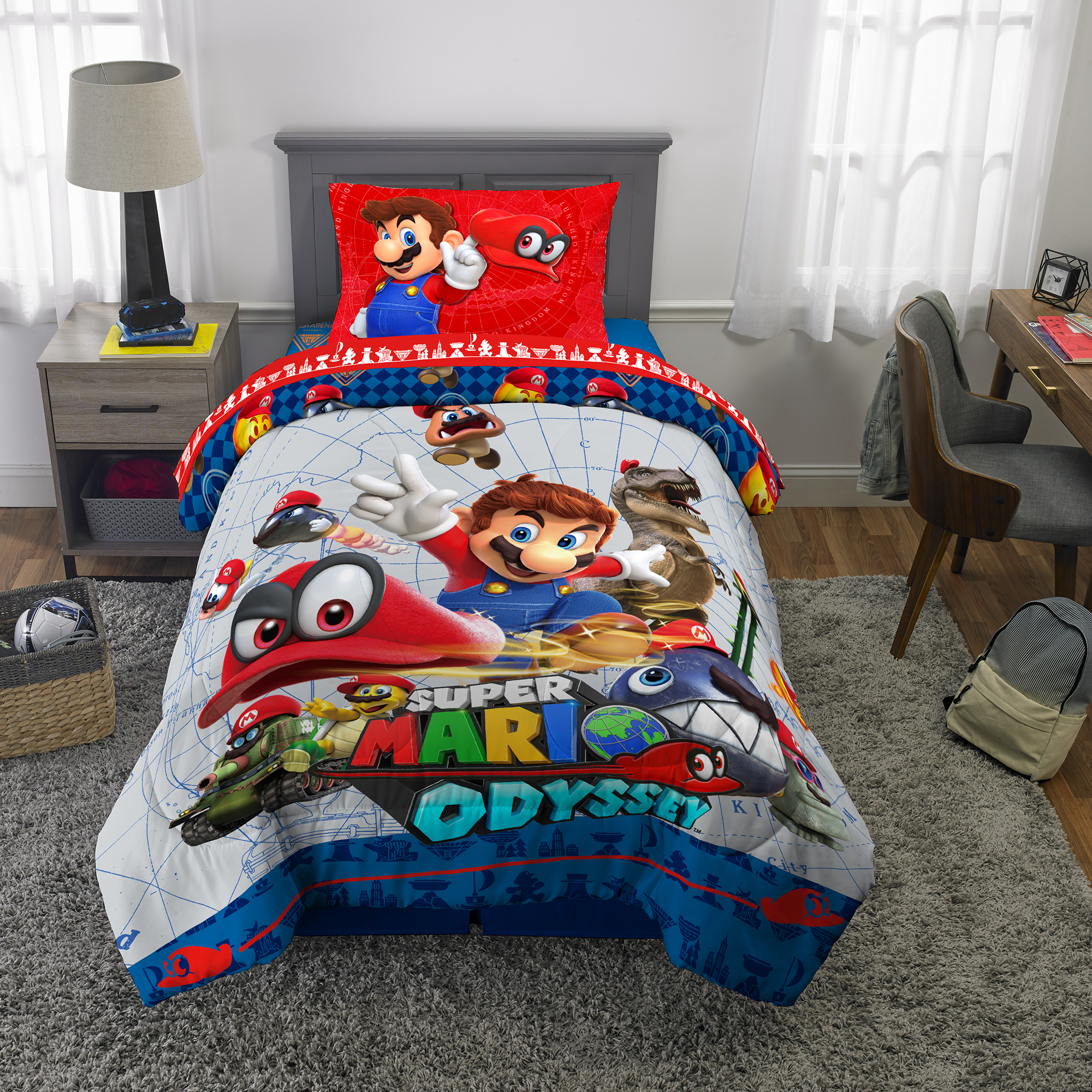 Picture of: Super Mario Odyssey Bed In A Bag Kids Bedding Bundle Set 4 Piece Twin Walmart Com Walmart Com