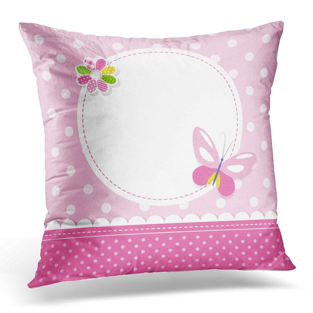 ARHOME Green Birthday Pink Butterfly Baby Girl Colorful Kid Pillow Case Pillow Cover 20x20 inch