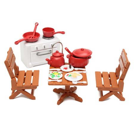 Plastic Dining Table Miniature Kitchen Doll House Furniture Toy Set Gifts Decor ()