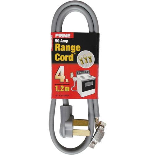 Prime 3-Pole 3-Wire SRDT 50A 125/250-Volt Range Cord, Gray, 4-Feet