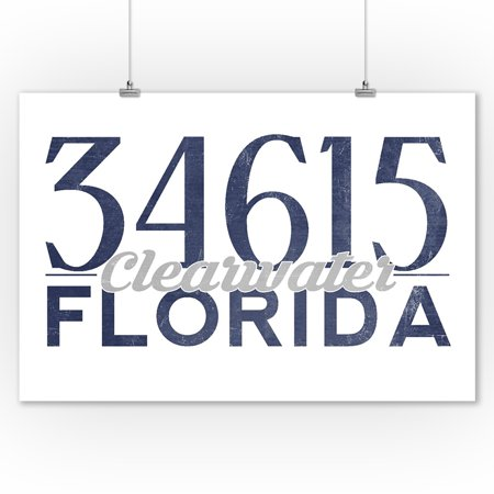 Clearwater  Florida   34615 Zip Code  Blue    Lantern Press Artwork  9X12 Art Print  Wall Decor Travel Poster