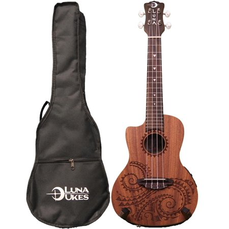 Luna Guitars Ukulele Concert Tattoo LEFTY w/Preamp, UKE TEC MAH