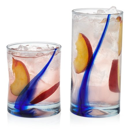 Libbey Blue Ribbon Impressions 16-Piece Tumbler and Rocks Glass (Louis Blues Rocks Glass)
