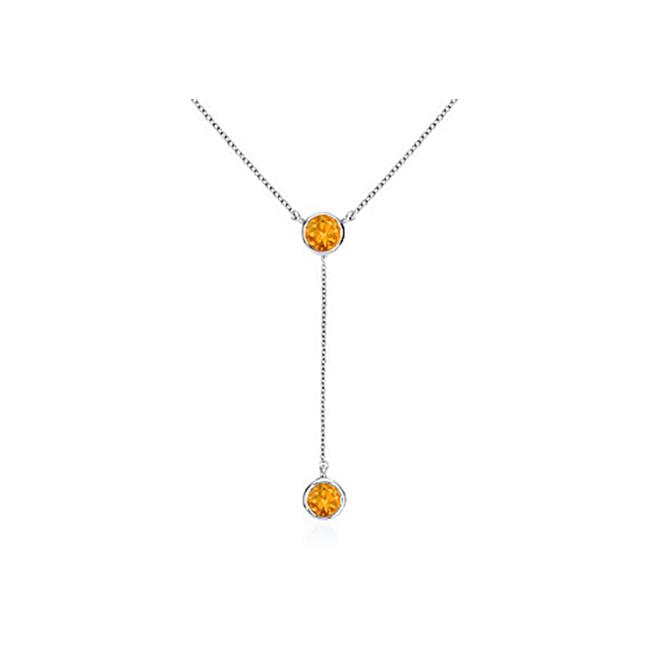 Fine Jewelry Vault UBNKBK7039AGCT Citrine Drop Necklace in Rhodium Treated 925 Sterling Silver 1 Carat Total Gem Weight by Fine Jewelry Vault