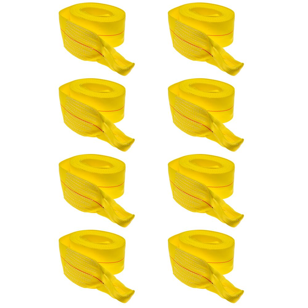 """8-Pack of 4"""" x 30' Heavy-Duty Recovery Tow Strap with Loop Ends"""