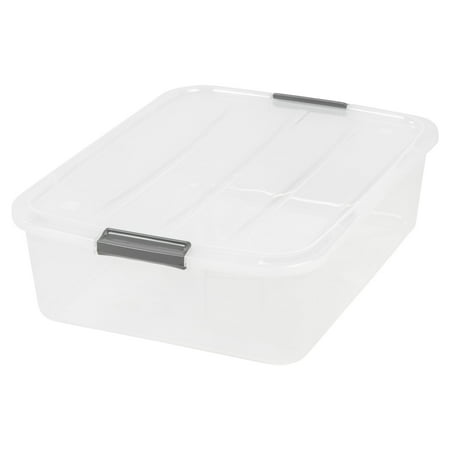IRIS USA 33 Quart Underbed Plastic Buckle Up Box, Clear ()