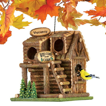 Hanging Northwoods Log Cabin Birdhouse with Chain and Hook - Hand Painted Birdhouse with Three Bird Entry Holes and Back Access Door for Easy Cleaning