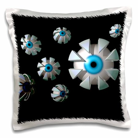 3dRose Eyes In Space individual eyeballs with metallic casings floating randomly , Pillow Case, 16 by 16-inch