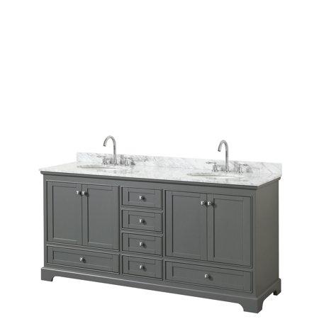Bathroom Vanity Counter - Wyndham Collection WCS202072DKGCMUNOMXX 72 in. Double Bathroom Vanity with White Carrara Marble Countertop, Undermount Oval Sinks & No Mirrors - Dark Gray