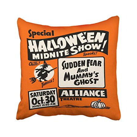 WinHome Decorative Pillowcases Vintage Spook Show Poster Halloween Midnite Show Throw Pillow Covers Cases Cushion Cover Case Sofa 18x18 Inches Two Side - Halloween Club Spook Show
