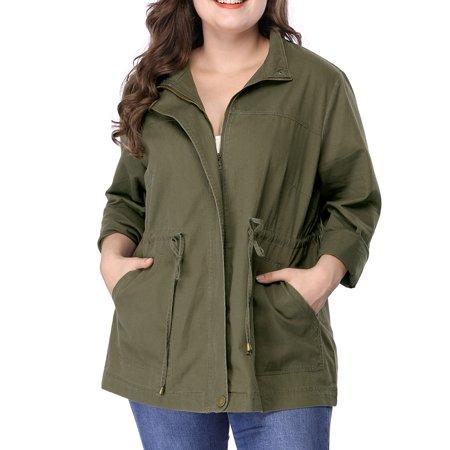 Women's Plus Size Light Stand Collar Drawstring Utility Jacket (Size 3X) Green ()