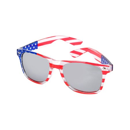 Independence Day Old Glory Rim Patriotic Mirrored Sunglasses Costume (Sunglasses Costume)