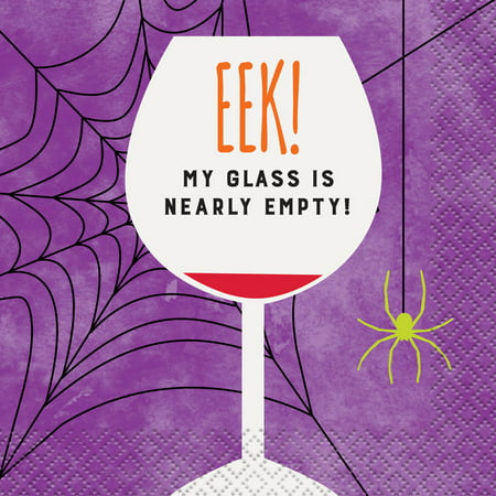EEK Empty Glass Halloween Cocktail Napkins, 5 in, 16ct - Halloween Punch Cocktail
