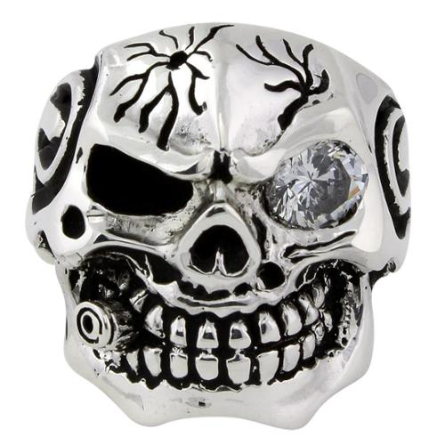 Sterling Silver Bullet-to-the-Head Skull Ring 17