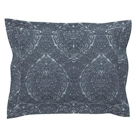 Medieval Damask Brocade Metallic Look Margareta Uppsala Pillow Sham by Roostery