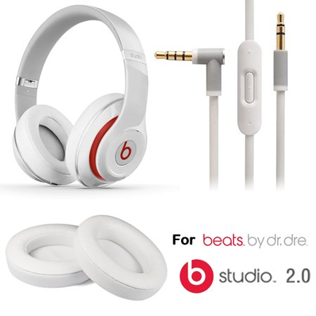 Eeekit Replacement Earpads Cushions And Audio Cable Cord W  Mic For Beats Studio 2 0 Wired   Studio Wireless Headphones White