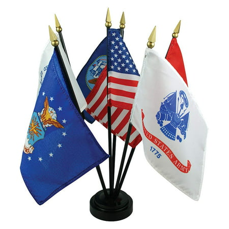 US Armed Forces Desk Set - 6 Flags, Very attractive printed polyester flag set By US Flag Store,USA 6 Flag Set