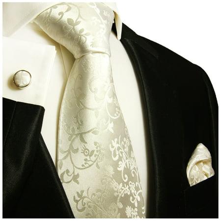 Circle Silk Tie - Paul Malone Formal Silk Tie Set in Ivory Vines