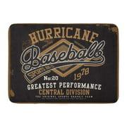 GODPOK Sport Black Retro Hurricane Baseball for Tee Graphic Vintage Sign Rug Doormat Bath Mat 23.6x15.7 inch