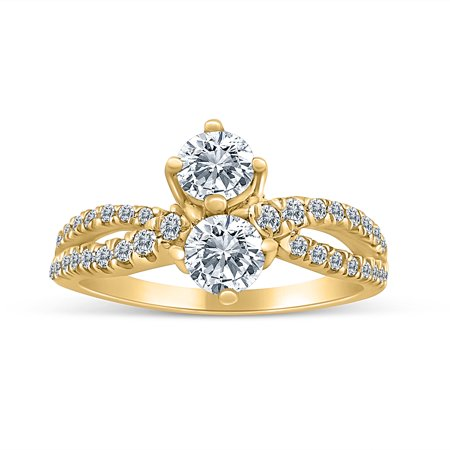 1.00ctw Diamond Two Stone Ring in 10k Yellow Gold (G-H, I2-I3, 1.00ctw)