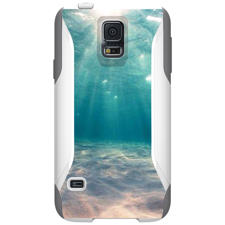 DistinctInk™ Custom White OtterBox Commuter Series Case for Samsung Galaxy S5 - Underwater Sun Sand
