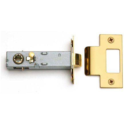 "Reversible Brass Door Latch Set - Easy Install - Privacy Pin - 2-3/4"" Strike Plate Accepts Square Spindle"