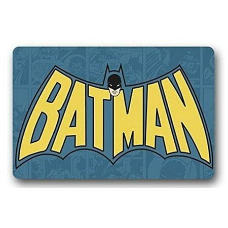 DEYOU Justice League Batman Theme Doormat Outdoor Indoor Floor Mats Non-Slip Bathroom Mats Size 18x30 Inch - Justice League Halloween Theme