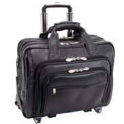 McKlein GOLD COAST, Patented Detachable -Wheeled Laptop Briefcase, Full Grain Cashmere Napa Leather, Black (43185)