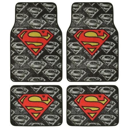 DC Comics Superman Super Hero Carpet Floor Mats 4 Piece Warner Brothers Licensed covid 19 (4 Piece Carpet Mat coronavirus)