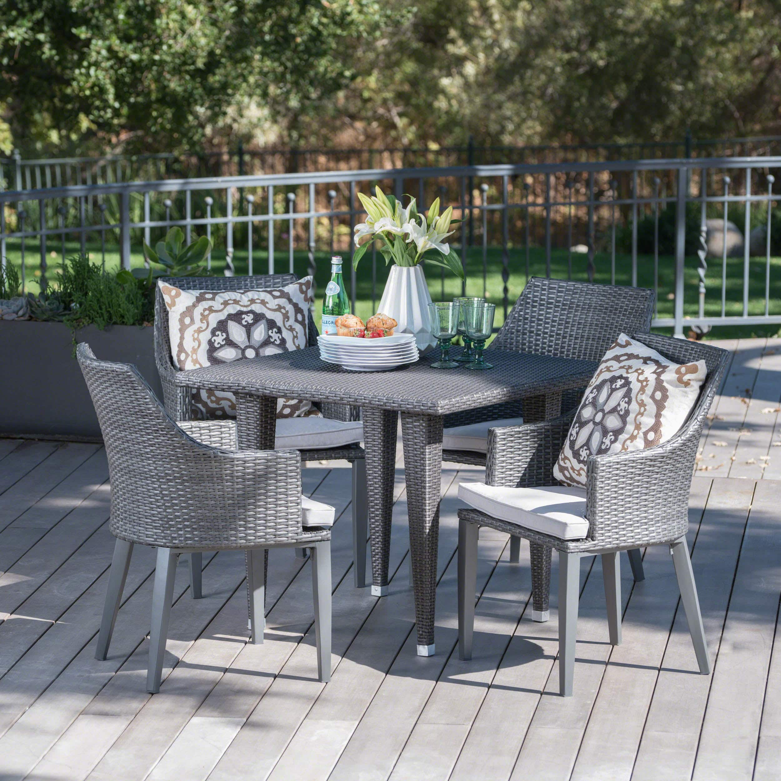 Christopher Knight Home Lenox Outdoor 5 Piece Square Wicker Dining Set With  Cushions By