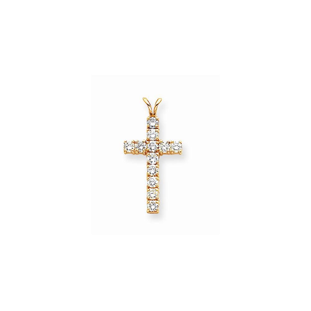 14k Yellow Gold H-I SI2 Quality Diamond Latin Cross Pendant. Carat Wt- 1.296ct
