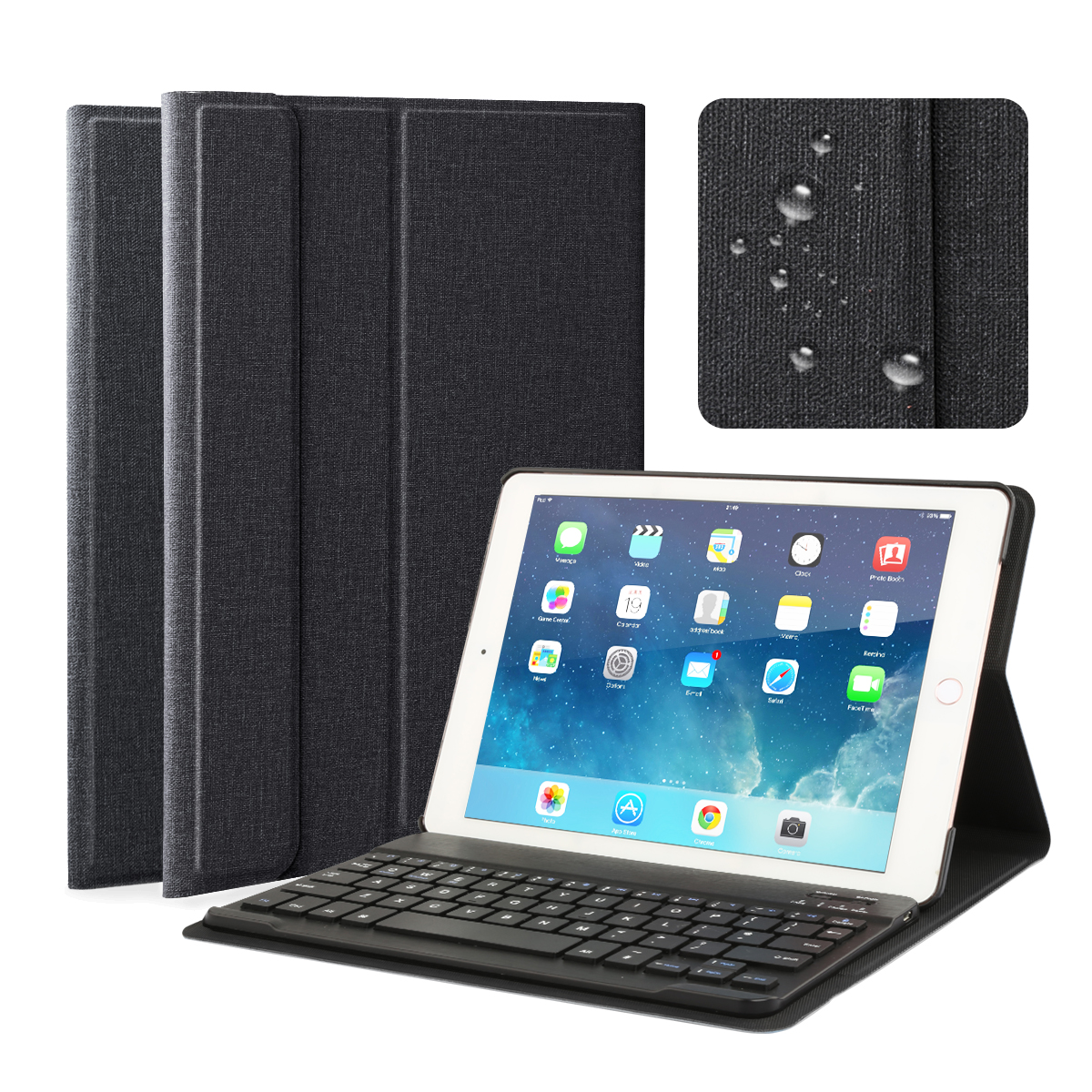 Multi-Angle Viewing Fabric Folio Stand Cover Case with Wireless Bluetooth Keyboard for iPad Air 1/2 iPad 9.7""